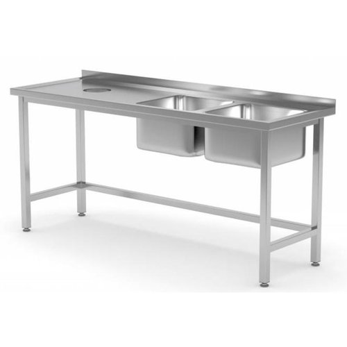Stainless Steel Table with Double bowl sink & Hole for Garbage chute | FREE SHIPPING & INSTALLATION