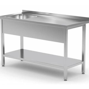 Stainless Steel Table with Single Sink (Left Side), Bottom Shelf | FREE SHIPPING & INSTALLATION