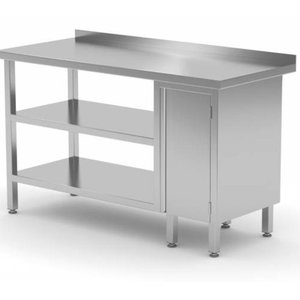 Stainless Steel Work Table with Middle, Bottom Shelf, Storage Cabinet (Right Side) | FREE SHIPPING & INSTALLATION