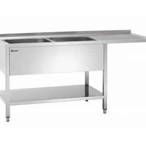 Stainless Steel Work Table with Double bowl sink, Bottom Shelf & Void space for bin | FREE SHIPPING & INSTALLATION