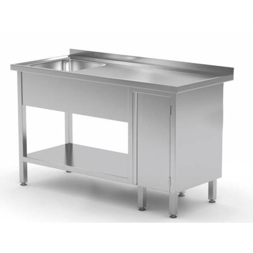 Stainless Steel Work Table with Single Sink (Left) Bottom Shelf, Storage Cabinet (Right Side) | FREE SHIPPING & INSTALLATION