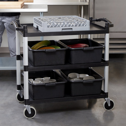 "Cambro Black Three Shelf Utility Cart (Unassembled) | 40"" x 21 1/4"" x 37 1/2"" | BC340KD110"