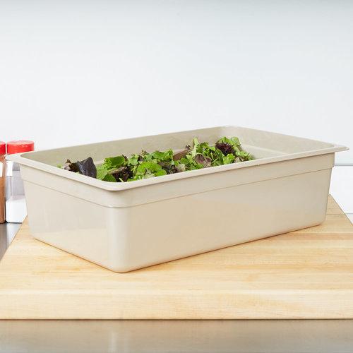 "Cambro Full Size Sandstone High Heat Plastic Food Pan | 16HP772 | X-Pan | 6"" Deep"