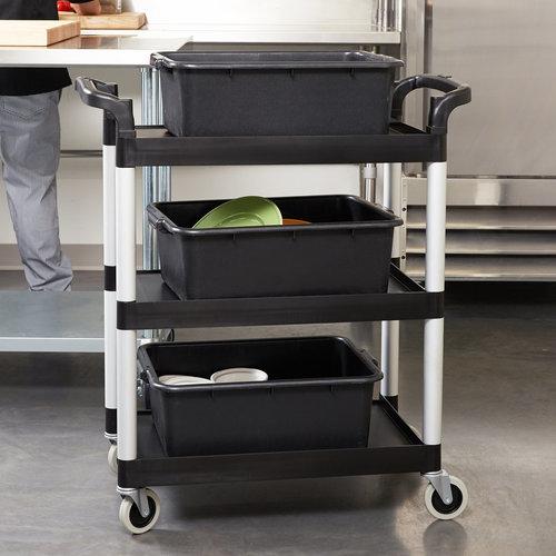 "Cambro Black Three Shelf Utility Cart (Unassembled) | 32 7/8"" x 16 1/4"" x 38""  | BC331KD110"