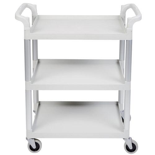 "Cambro Speckled Gray Three Shelf Utility Cart (Unassembled) | BC331KD480 | 32 7/8"" x 16 1/4"" x 38"""