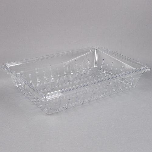 "Cambro Clear Plastic Food Drain Box / Colander | Camwear | 26"" x 18"" x 5"" | 1826CLRCW135"