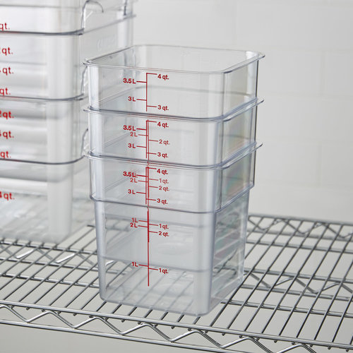 Cambro Clear Square Polycarbonate Food Storage Container | Different Gradations | Different Sizes