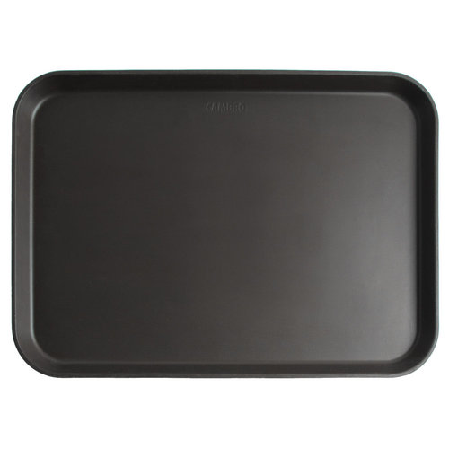 "Cambro Black Satin Non-Skid Serving Tray | 16"" x 22"" 