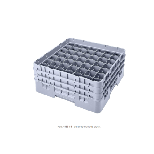 "Cambro Soft Gray Camrack Customizable 49 Compartment 3 5/8"" Glass Rack"