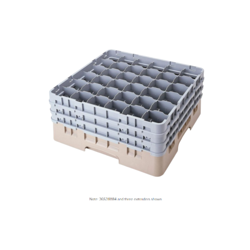 "Cambro Beige Camrack Customizable 36 Compartment 3 5/8"" Glass Rack"