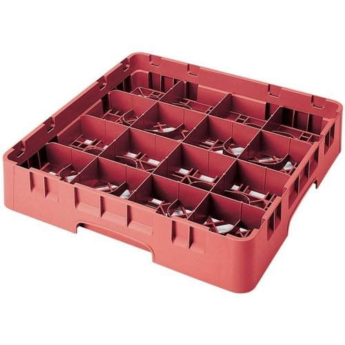 Cambro High Customizable Red 16 Compartment Glass Rack |  3 5/8""