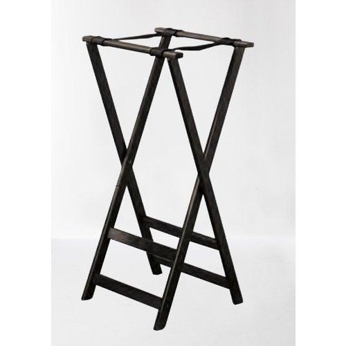 TableCraft Black Folding Wood Tray Stand | 81.5x42x42 Cm