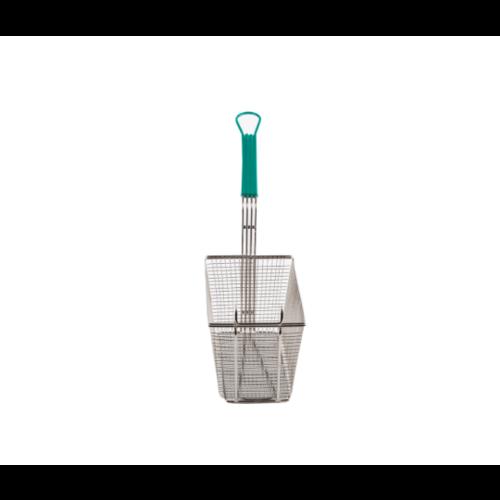 "TableCraft Nickel Plated | Rectangular Metal Fryer Basket | With Coated Handle | Front Hook | 13-3/8 X 6-1/2 X 5-7/8"""