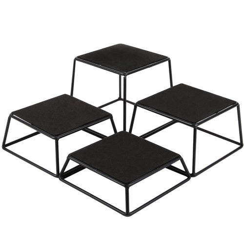 "TableCraft 7"" x 6"" Black Powder Coated 4 Piece Square Riser Set |  BKR4"