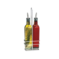 16 oz Glass Prima Oil & Vinegar Cruet Set with Rack