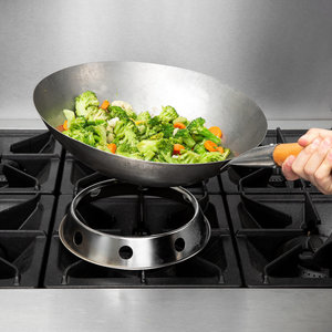Paderno Steel Chinese Wok with Wooden Handle