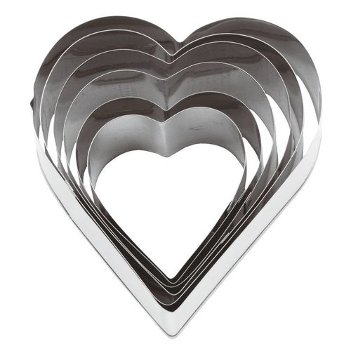 Paderno Heart Dough Cutter | Stainless steel | 6 Pieces | 47308-10
