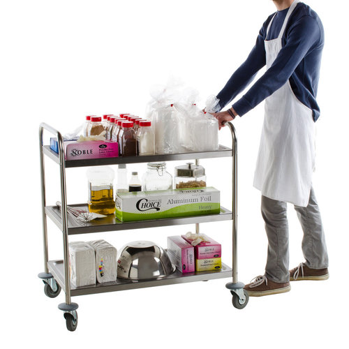 Paderno Stainless Steel 3 Shelf Utility Trolley