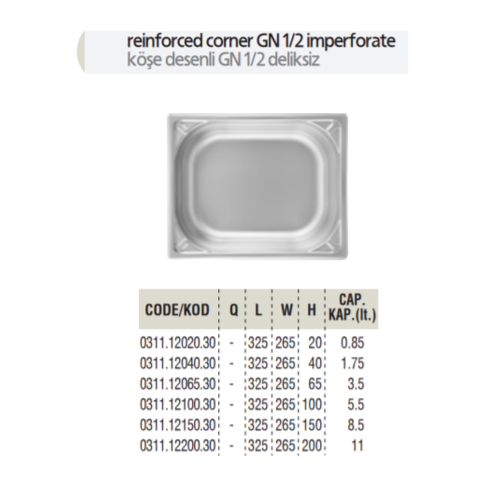 Ozti Gastronorm Container | Gn 1/2 | Different Sizes