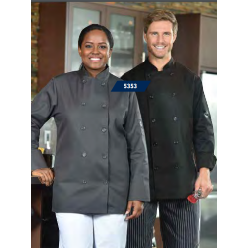 Premium Uniforms Short Sleeve Plastic Buttons Coloured Chef Coat | 5353SS | Black