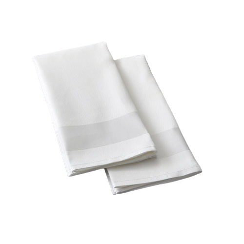 White Satin Band Cotton Napkins