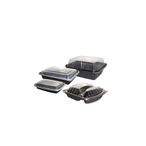Container With Lid Set Black/Clear  | 900ml | 100 Set | 260x178x45 mm