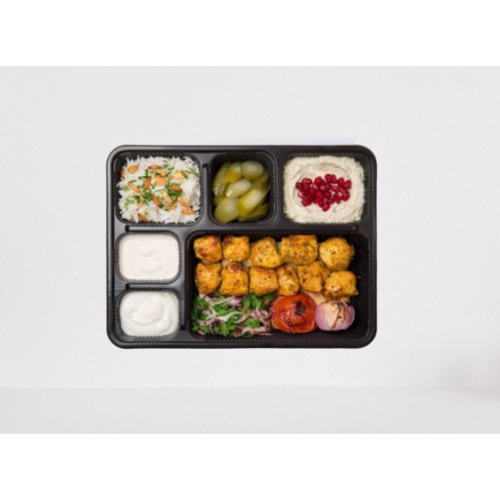 6-Compartment Rectangular Container with Lid