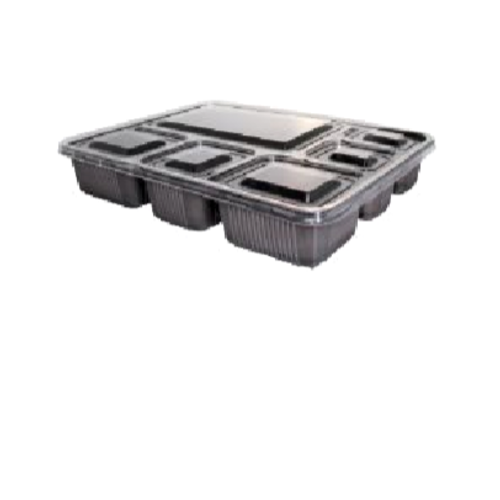 6-Compartment Rectangular Container with Lid   291x218x45 mm    Black   150 Set