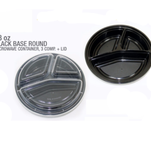 3-Compartment Round Container with Lid