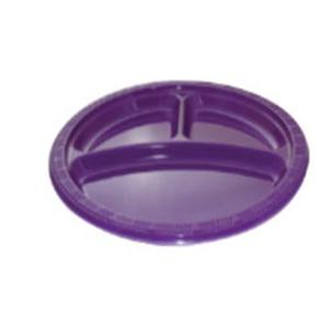 """10"""" 3 Compartment Purple Plastic Plate"""