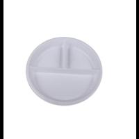 """10"""" 3 Compartment White Plastic Plate"""