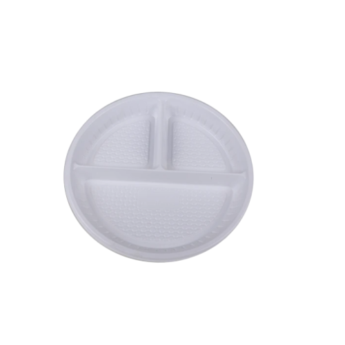 "10"" 3 Compartment White Plastic Plate 
