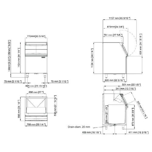 Scotsman Ice Storage Bin NB 530 | Bin up to 243 kg | FREE SHIPPING
