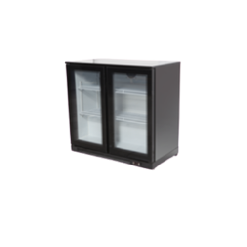 Double Hinged Door Black Bar Cooler | FREE SHIPPING