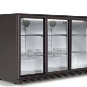 Three Sliding Door Black Bar Cooler  | FREE SHIPPING