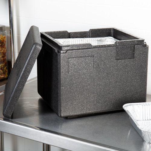 Cambro Cam GoBox® Black Half Size Top Loader Insulated Food Pan Carrier | EPP280110
