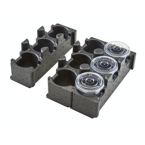 Cambro Black Insulated Cup Holder | Cam GoBox 3-Compartment | EPPBEVH1110