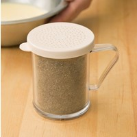 Shaker with Beige Lid for Salt and Pepper