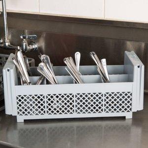 Cambro Soft Gray 8 Compartment Half Size Flatware Basket   8FBNH434151