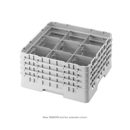 "Cambro Soft Gray 9 Compartment 8 1/2"" Glass Rack | 9S800151"