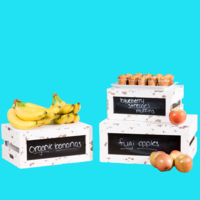 Distressed Wood Chalkboard Crate Riser Set   3-Piece