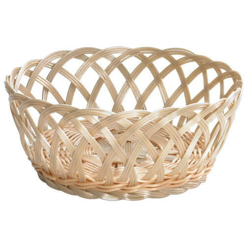 "TableCraft Open Weave Round Rattan Basket | 1135W | 9"" x 3 1/4"" 