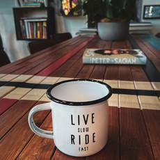 Live Slow Ride Fast Live Slow Ride Fast Enamel mug
