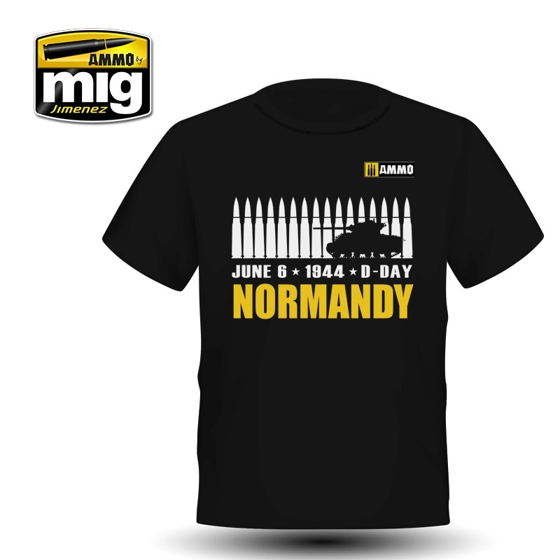Ammo by Mig Jimenez Merchandise - Normandy T-Shirt with Sherman M4 tank silhouette  - A.MIG-8030