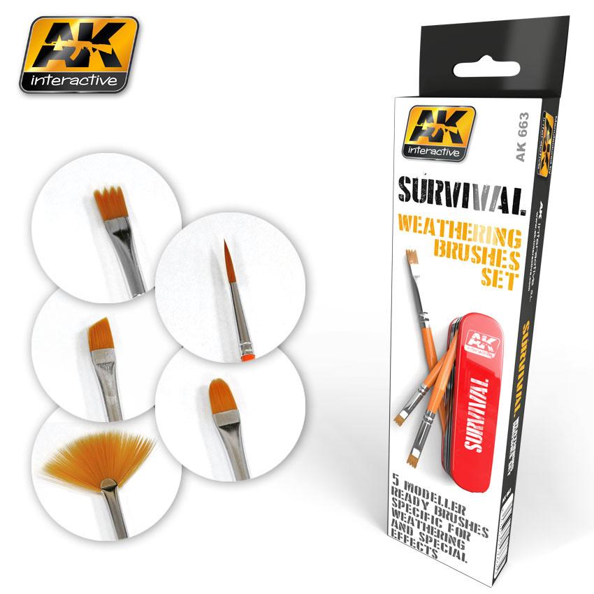 AK-Interactive Survival Weathering Brush Set - AK-663