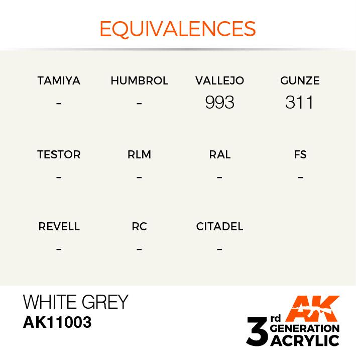 AK-Interactive White Grey Acrylic Modelling Color - 17ml - AK-11003