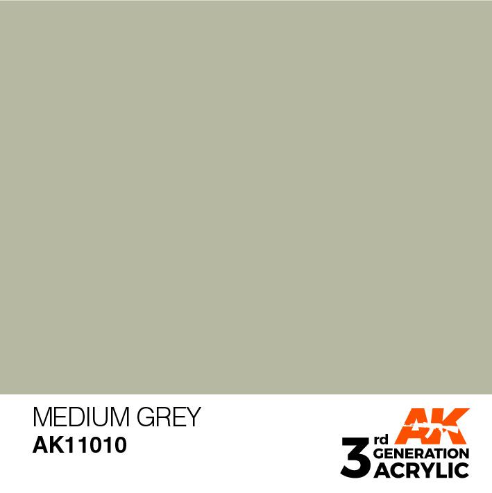 AK-Interactive Medium Grey Acrylic Modelling Color - 17ml - AK-11010