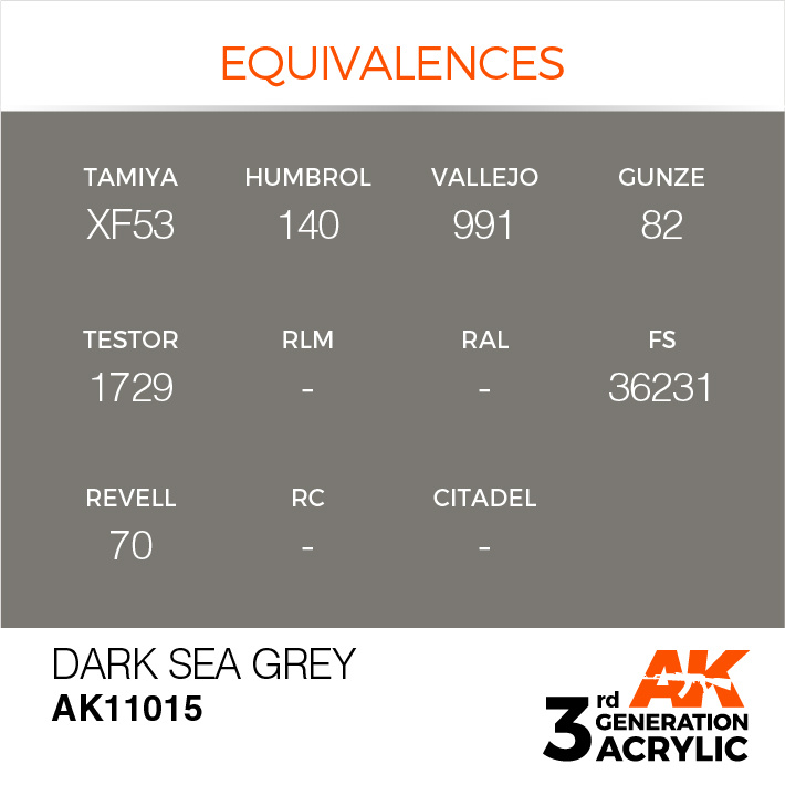 AK-Interactive Dark Sea Grey Acrylic Modelling Color - 17ml - AK-11015