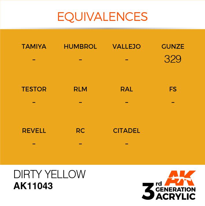 AK-Interactive Dirty Yellow Acrylic Modelling Color - 17ml - AK-11043