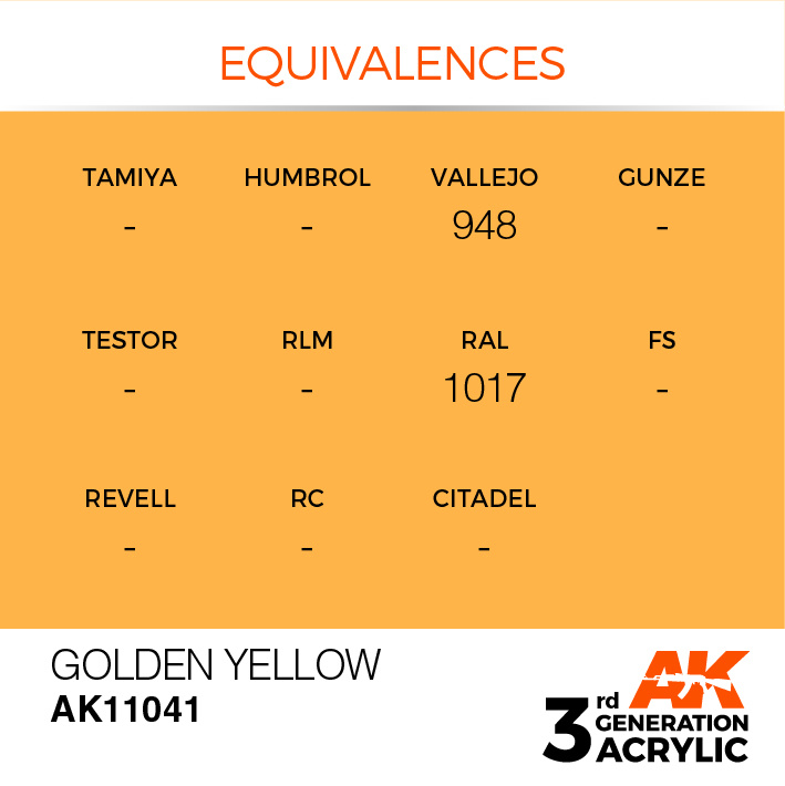 AK-Interactive Golden Yellow Acrylic Modelling Color - 17ml - AK-11041